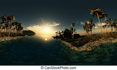 panoramic of tropical beach at sunset made with the One 360...