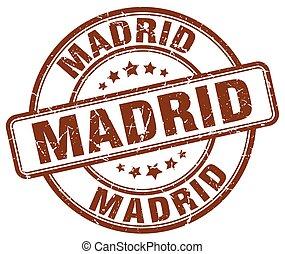 Madrid brown grunge round vintage rubber stamp
