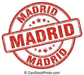 Madrid red grunge round vintage rubber stamp