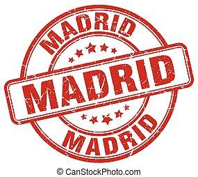 Madrid, rouges, grunge, rond, vendange, caoutchouc, timbre