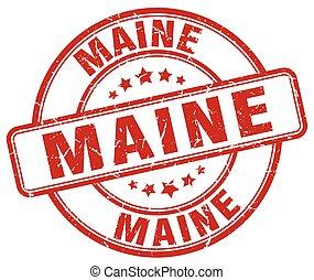 Maine red grunge round vintage rubber stamp