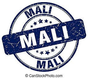 Mali blue grunge round vintage rubber stamp