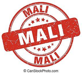 Mali red grunge round vintage rubber stamp