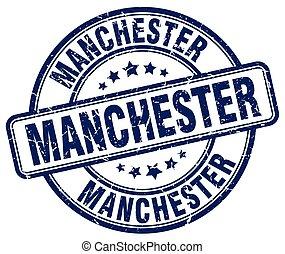 Manchester blue grunge round vintage rubber stamp