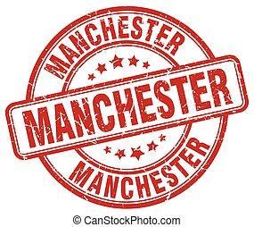Manchester red grunge round vintage rubber stamp