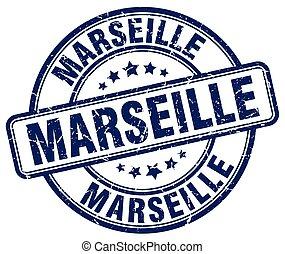 Marseille blue grunge round vintage rubber stamp