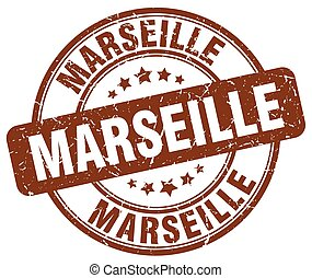 Marseille brown grunge round vintage rubber stamp