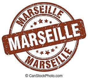 Marseille brown grunge round vintage rubber stamp