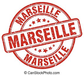 Marseille red grunge round vintage rubber stamp