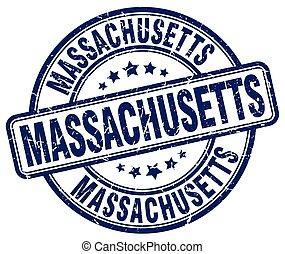 Massachusetts blue grunge round vintage rubber stamp