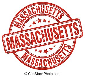 Massachusetts red grunge round vintage rubber stamp