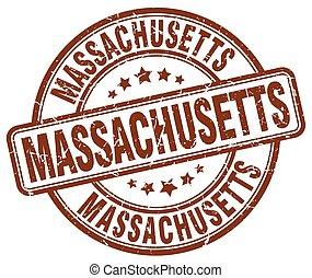 Massachusetts brown grunge round vintage rubber stamp