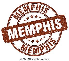 Memphis brown grunge round vintage rubber stamp