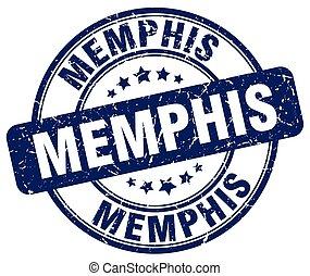 Memphis blue grunge round vintage rubber stamp