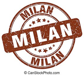 Milan brown grunge round vintage rubber stamp