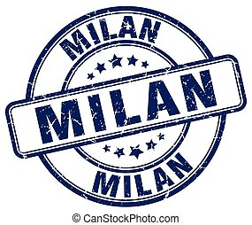 Milan blue grunge round vintage rubber stamp