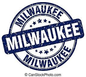 Milwaukee blue grunge round vintage rubber stamp