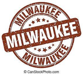 Milwaukee brown grunge round vintage rubber stamp