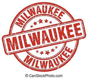 Milwaukee red grunge round vintage rubber stamp