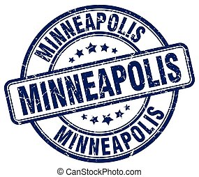 Minneapolis blue grunge round vintage rubber stamp