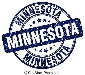 Minnesota blue grunge round vintage rubber stamp