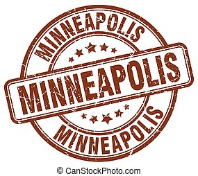 Minneapolis brown grunge round vintage rubber stamp