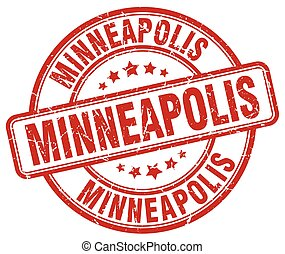 Minneapolis red grunge round vintage rubber stamp
