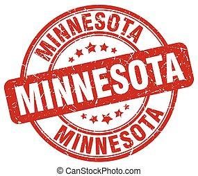 Minnesota red grunge round vintage rubber stamp