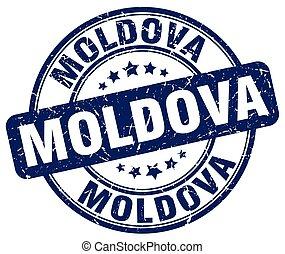 Moldova blue grunge round vintage rubber stamp