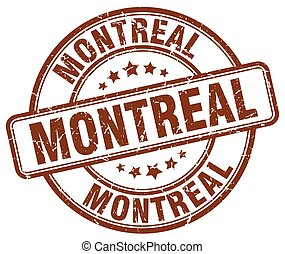 Montreal brown grunge round vintage rubber stamp
