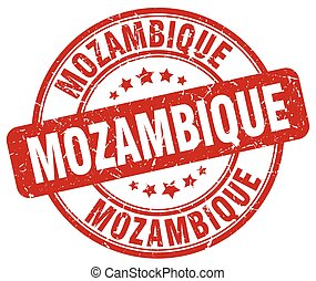 Mozambique red grunge round vintage rubber stamp