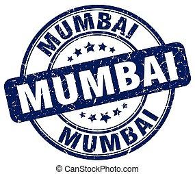 Mumbai blue grunge round vintage rubber stamp