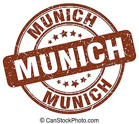 Munich brown grunge round vintage rubber stamp
