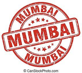 Mumbai red grunge round vintage rubber stamp