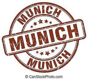 Munich brown grunge round vintage rubber stamp