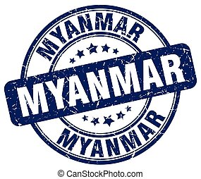 Myanmar blue grunge round vintage rubber stamp