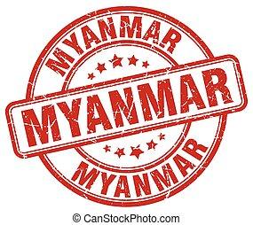 Myanmar red grunge round vintage rubber stamp