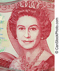 Queen Elizabeth II 1926- on 3 Dollars 1984 Banknote from...
