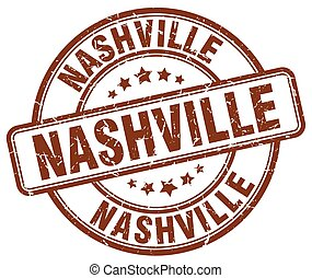 Nashville brown grunge round vintage rubber stamp
