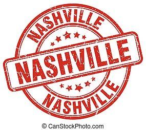 Nashville red grunge round vintage rubber stamp