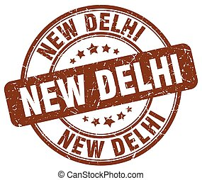 New Delhi brown grunge round vintage rubber stamp
