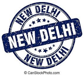 New Delhi blue grunge round vintage rubber stamp