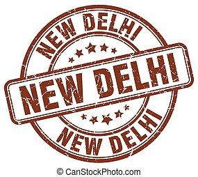 New Delhi brown grunge round vintage rubber stamp