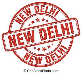 New Delhi red grunge round vintage rubber stamp