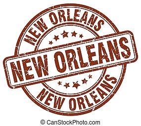 New Orleans brown grunge round vintage rubber stamp