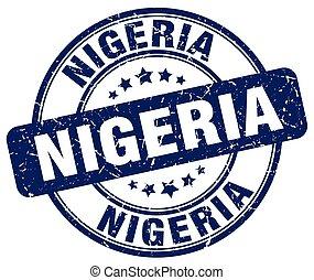Nigeria blue grunge round vintage rubber stamp