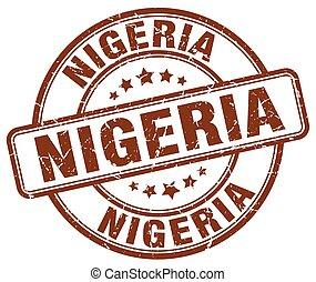 Nigeria brown grunge round vintage rubber stamp
