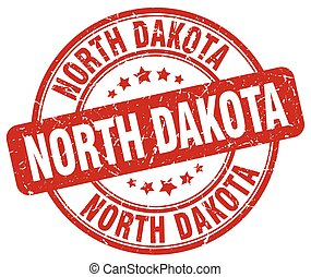 North Dakota red grunge round vintage rubber stamp