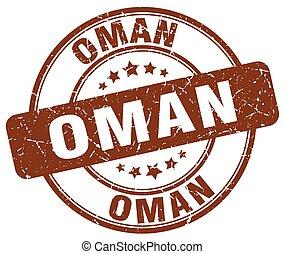 Oman brown grunge round vintage rubber stamp