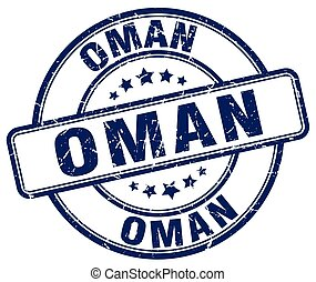 Oman blue grunge round vintage rubber stamp